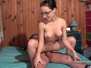Pretty french lez girl with her nice tits banged by old man papy voyeur