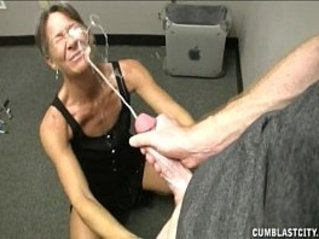 Grand mother helping young man to cum