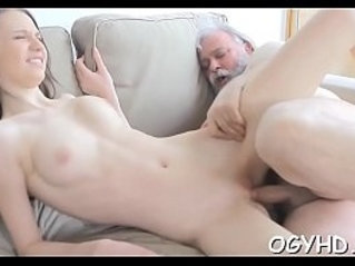 Old chap fucks her young pussy