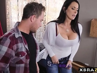 Stepmom with big tits fucks while dad is downstairs