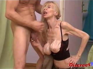 Anorexic old granny gets her throat fucked