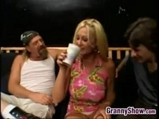 Chubby Granny gets Fucked In A Threeway