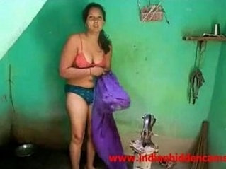 Newly Married Indian Wife Outdoor Shower