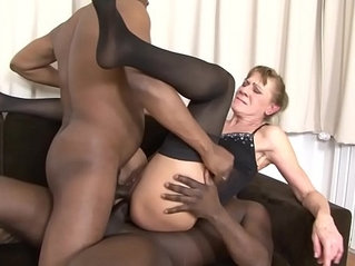 Interracial Threesome Granny bounded hard in her ass and pussy pounded hard deep anal