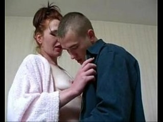 Lana redhead russian milf plays with younger guy