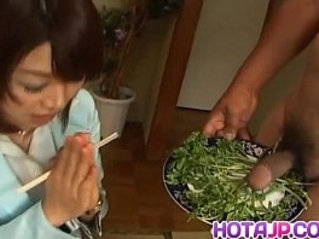 Mitsu Anno gets big cock deepthroat and cum in mouth in food fetish