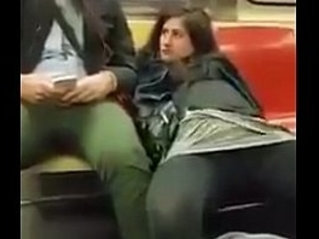 Pussy play on train