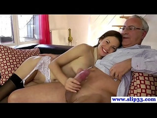 Teen amateur in stockings fucked by old man cock